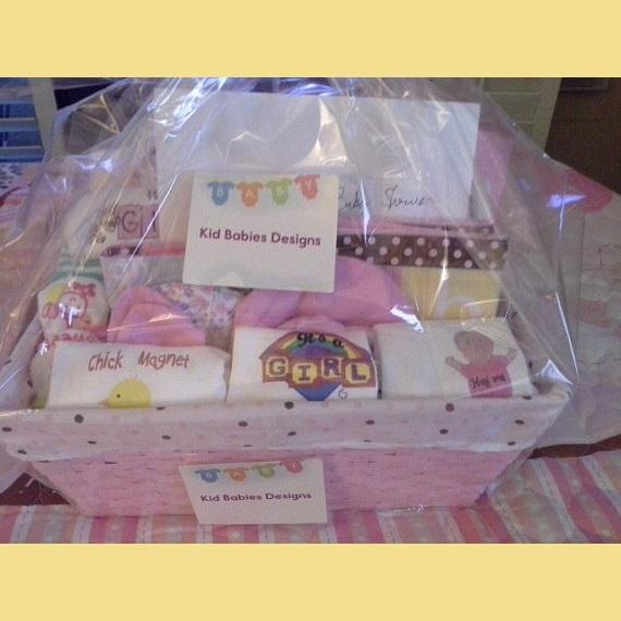 cf77dcd11de39 Baby Girl Screen printed Onesie Gift Basket Kid babies designs